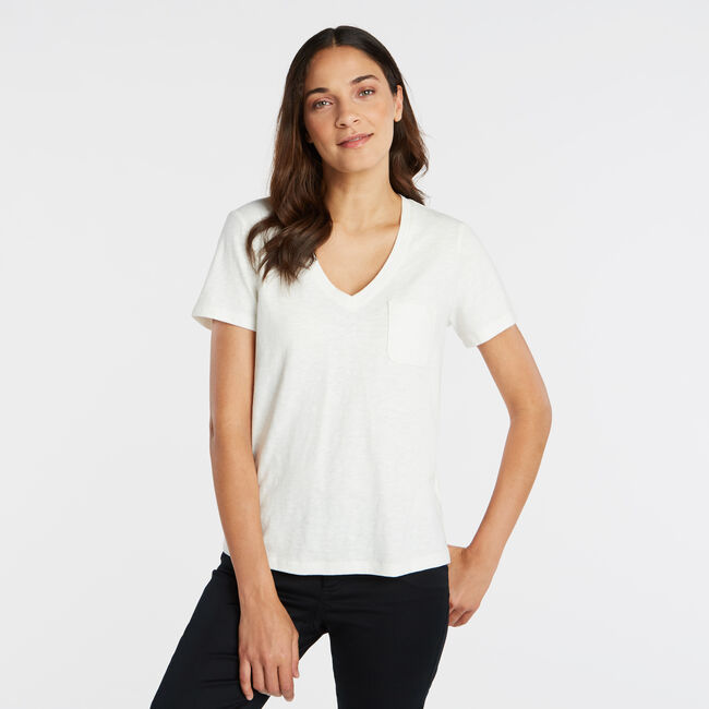 NAUTICA JEANS CO. SOLID V-NECK POCKET TEE,Marshmallow,large