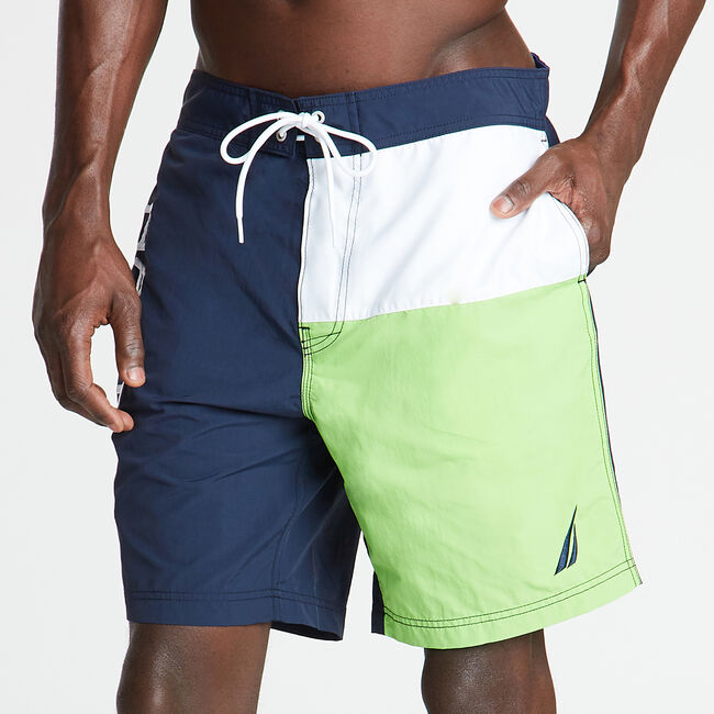 "8"" SWIM TRUNK IN COLORBLOCK,Navy,large"