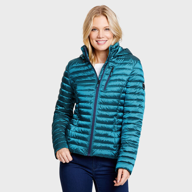 Lightweight Metallic Puffer Jacket,Compass Blue,large