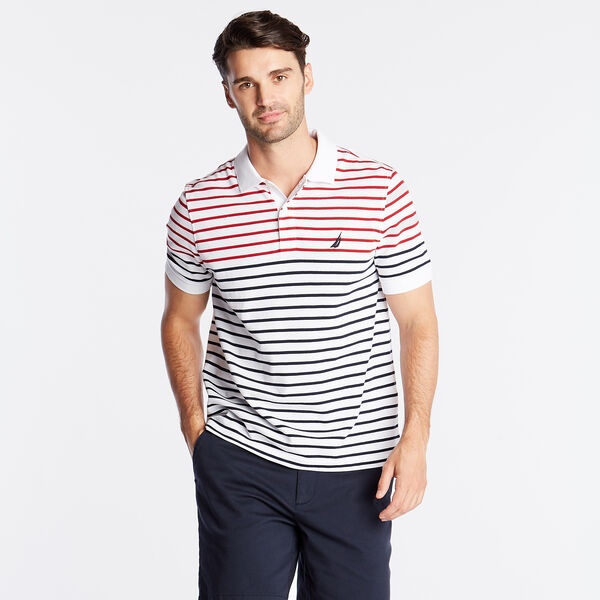 CLASSIC FIT PERFORMANCE POLO IN STRIPE - Bright White