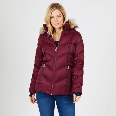 Hooded Chevron Puffer Jacket - Desert Rose