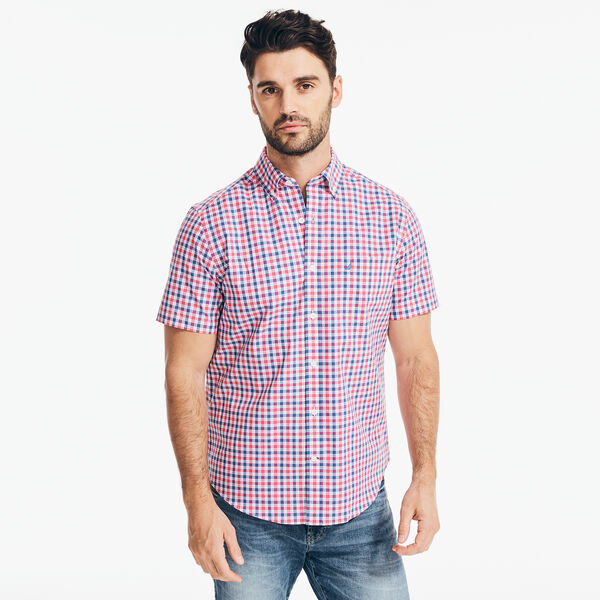 PLAID SHORT SLEEVE SHIRT - Persian Red