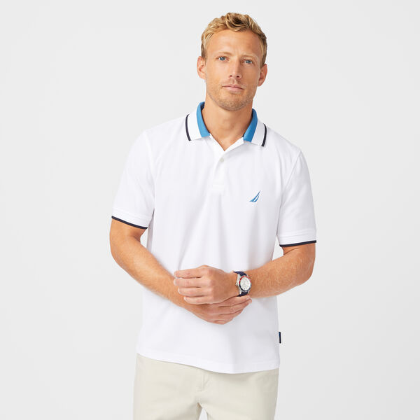 SUSTAINABLY CRAFTED COLORBLOCK COLLAR POLO - Bright White