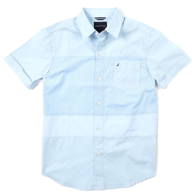 Little Boys' Short Sleeve Colorblock Button-Down Shirt (4-7),Clear Skies Blue,large