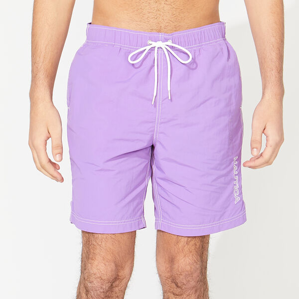 "8"" SOLID EMBROIDERED LOGO SWIM TRUNKS - Ocean Violet"