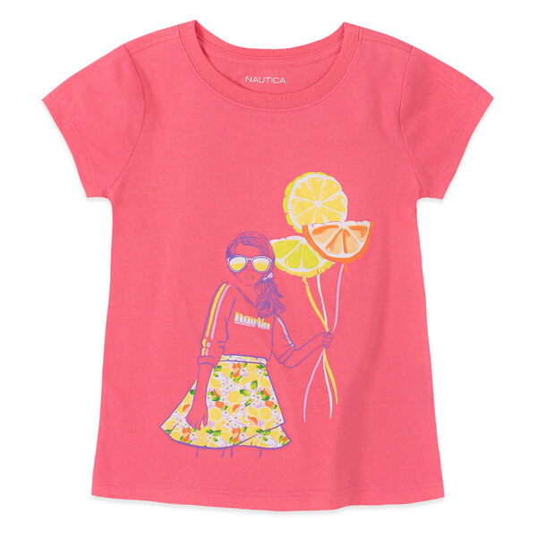 LITTLE GIRLS' FRUIT BALLOON TEE (4-7) - Light Pink