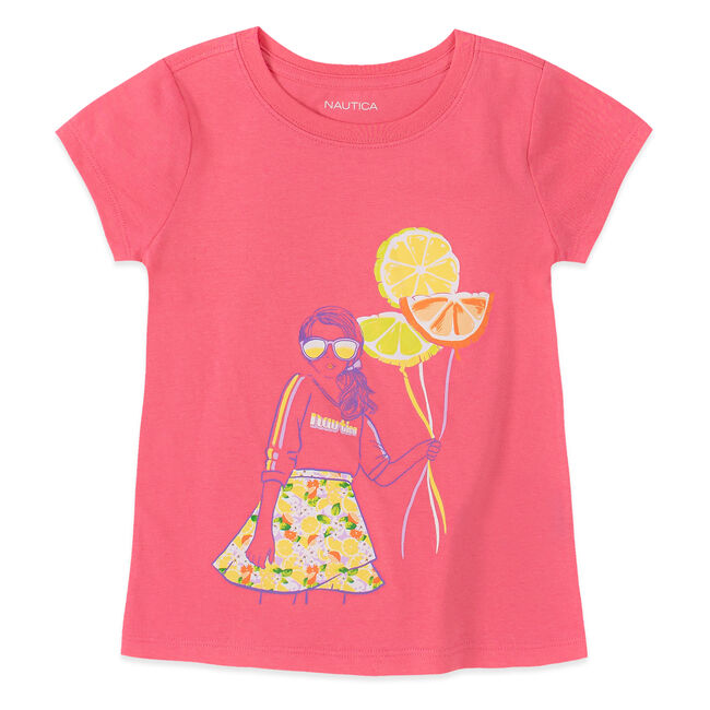 LITTLE GIRLS' FRUIT BALLOON TEE (4-7),Light Pink,large
