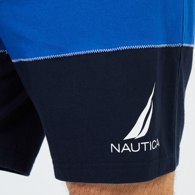 Classic Fit Striped Sleep Shorts,Navy,large