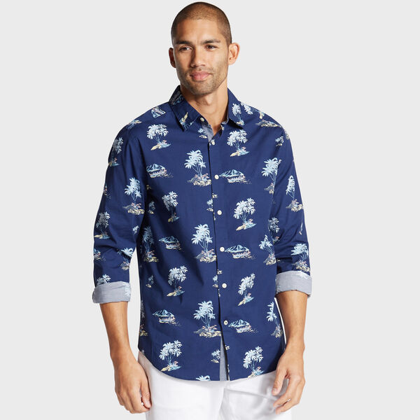 Big & Tall Palm Print Classic Fit Shirt - Blue Depths