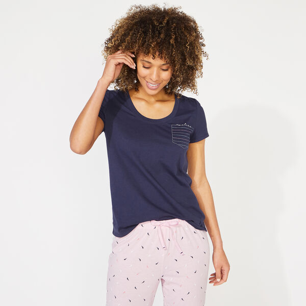 NAUTICA SCRIPT AND J-CLASS PRINT SHORT SLEEVE PAJAMA SET - Rescue Red