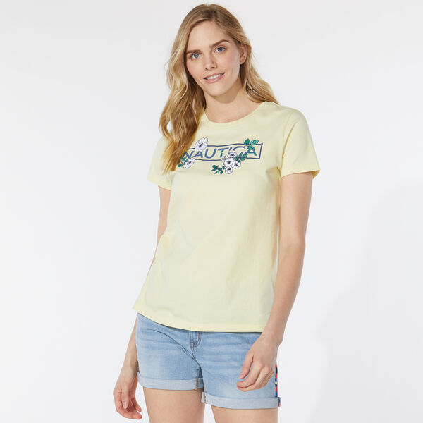 EMBROIDERED FLORAL T-SHIRT - French Vanilla