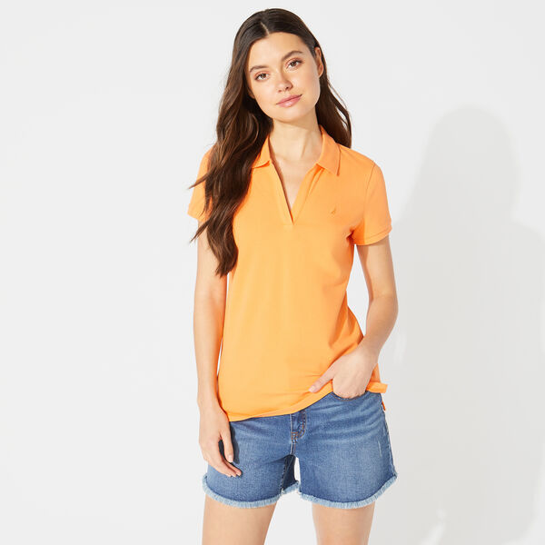 CLASSIC FIT SPLIT NECK POLO - Coral Reef Heather