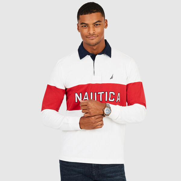 Long Sleeve Classic Fit Colorblock Polo - Sail White
