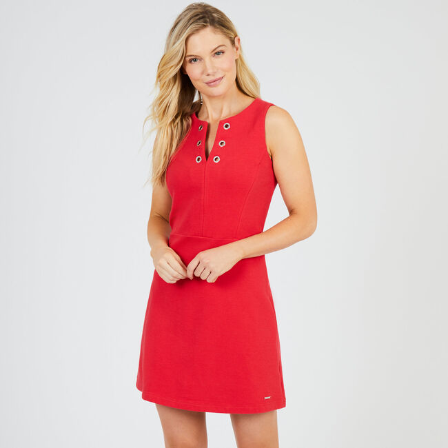 Sleeveless Split-Neck Dress,Buoy Red,large