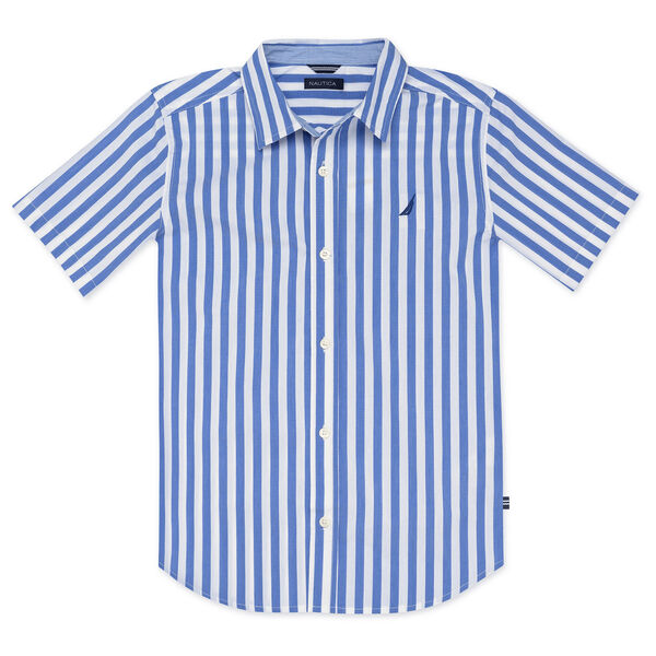 BOYS' NATHAN WOVEN SHIRT IN VERTICAL STRIPE - Reef Blue