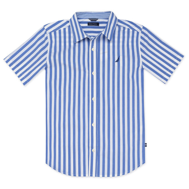 BOYS' NATHAN WOVEN SHIRT IN VERTICAL STRIPE,Reef Blue,large