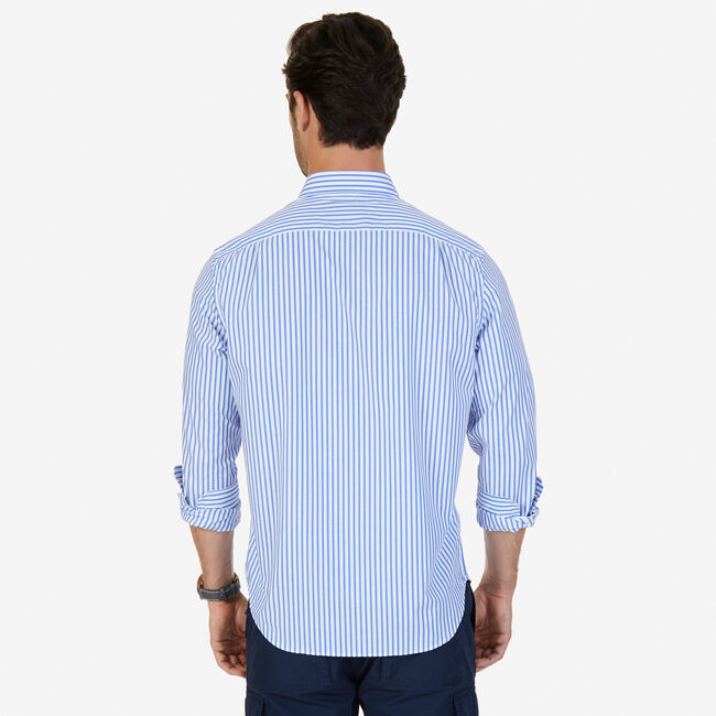Classic Fit Striped Button Down,French Blue,large