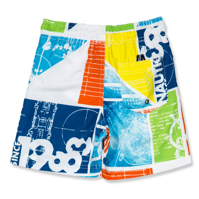 Little Boys' Oliver Graphic Swim Trunks (4-7),White,large