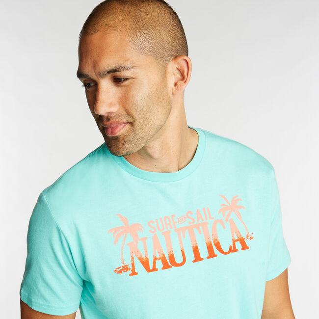 JERSEY T-SHIRT IN SURF & SAIL GRAPHIC,Pool Side Aqua,large