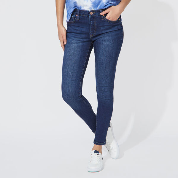 NAUTICA JEANS CO. MID RISE SKINNY DENIM IN DEEP WAVE WASH  - Sapphire/Pitch Yellow