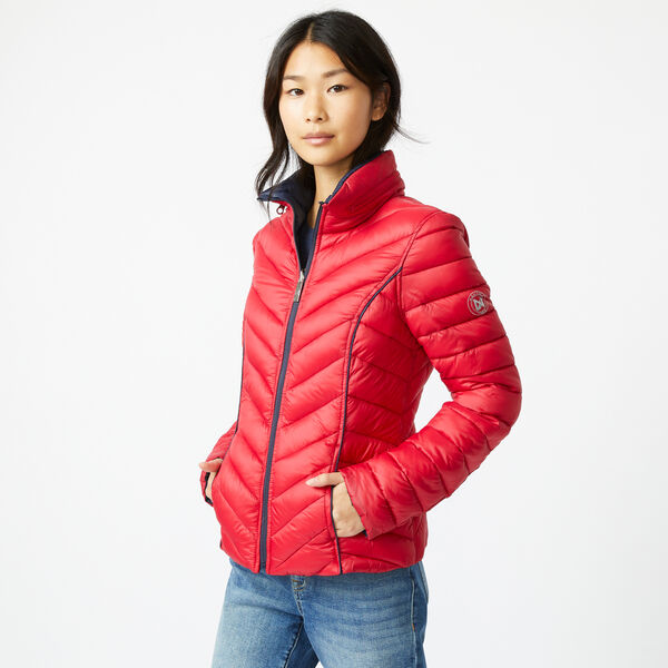 REVERSIBLE PACKABLE HOODED COAT - Tomales Red