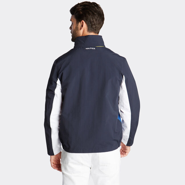 LIGHTWEIGHT JACKET IN COLORBLOCK,Navy,large