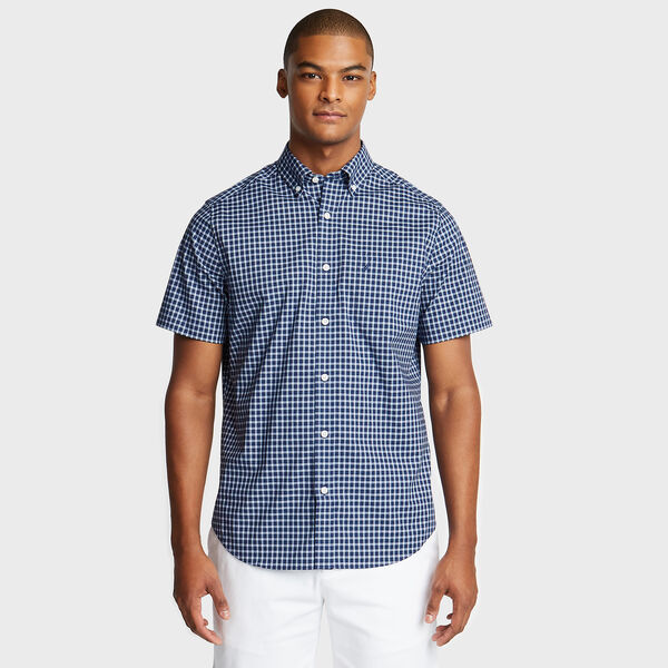 Wrinkle-Resistant Short Sleeve Classic Fit Shirt in Plaid - Monaco Blue