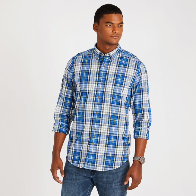 Classic Fit True Plaid Button Down,Sunfish Yellow,large