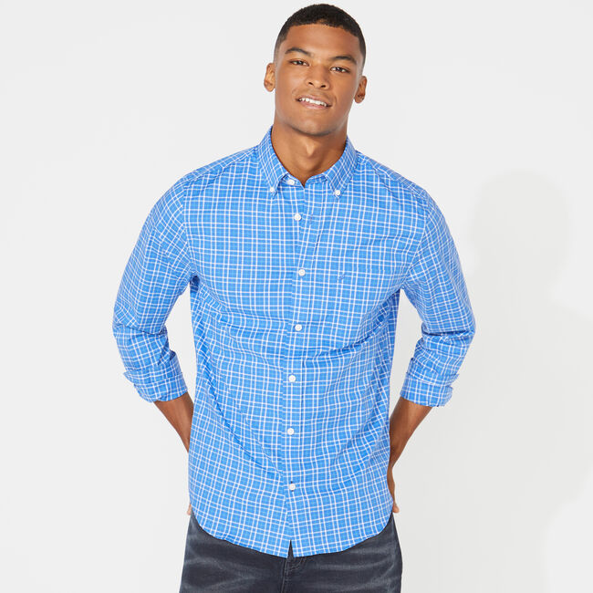 SLIM FIT WRINKLE-RESISTANT MINI TATTERSALL SHIRT,Rolling River Wash,large