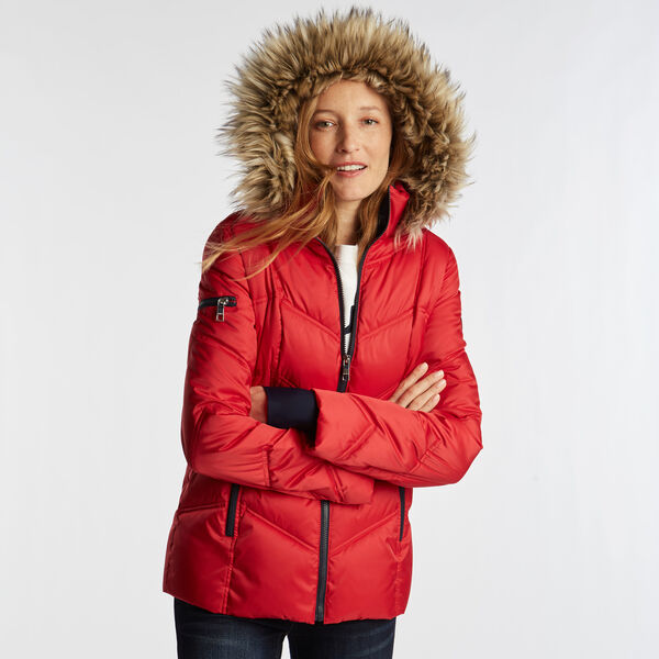 QUILTED PUFFER COAT - Tomales Red