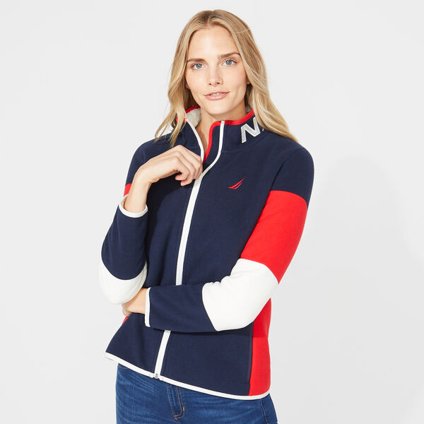 COLORBLOCK FLEECE JACKET - Stellar Blue Heather