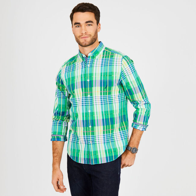 Big & Tall Classic Fit Long Sleeve Plaid Button Down,Nile,large