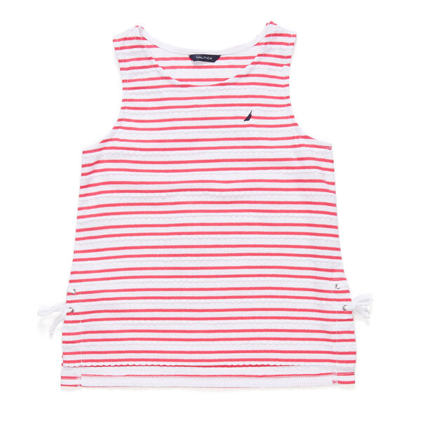 Toddler Girls' Scallop Lace Up Tank (2T-4T) - Pomegranate