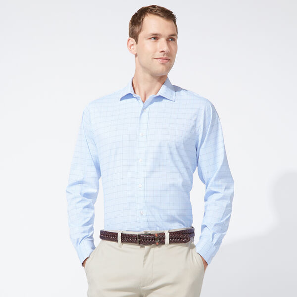 CLASSIC FIT PERFORMANCE TECH SHIRT IN LIGHT BLUE CHECK - Aquasplash