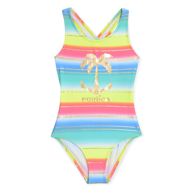 Girls' Logo One-Piece Swimsuit in Multistripe,Butternut,large