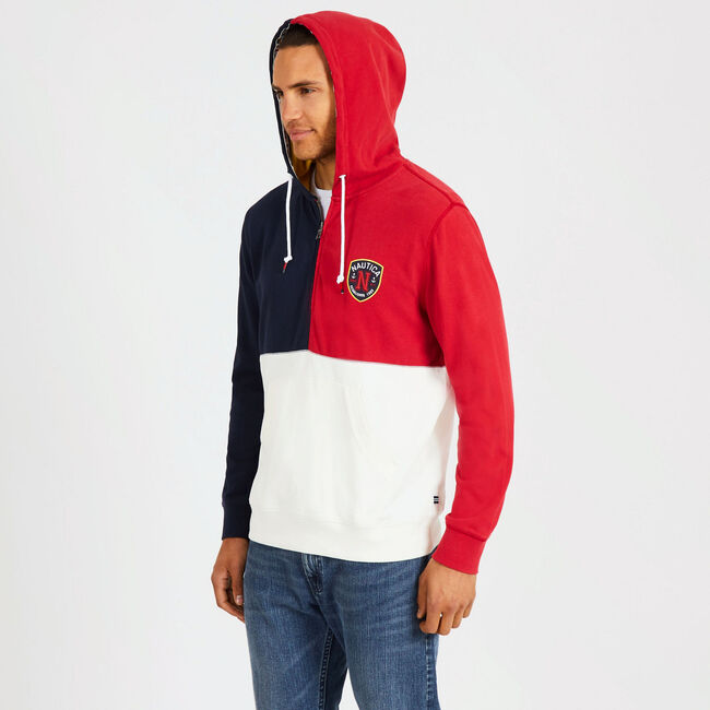 Colorblock Quarter-Zip Pullover Hoodie,Rescue Red,large