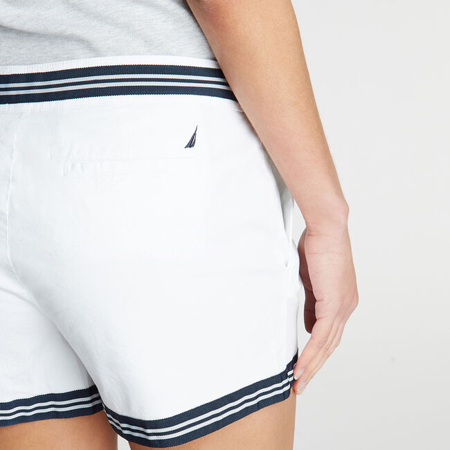 CLASSIC FIT STRETCH TWILL SHORT IN STRIPE TAPE,Bright White,large