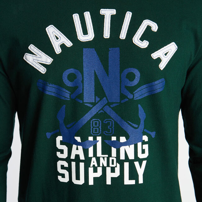 SAILING AND SUPPLY GRAPHIC TEE,Olive,large