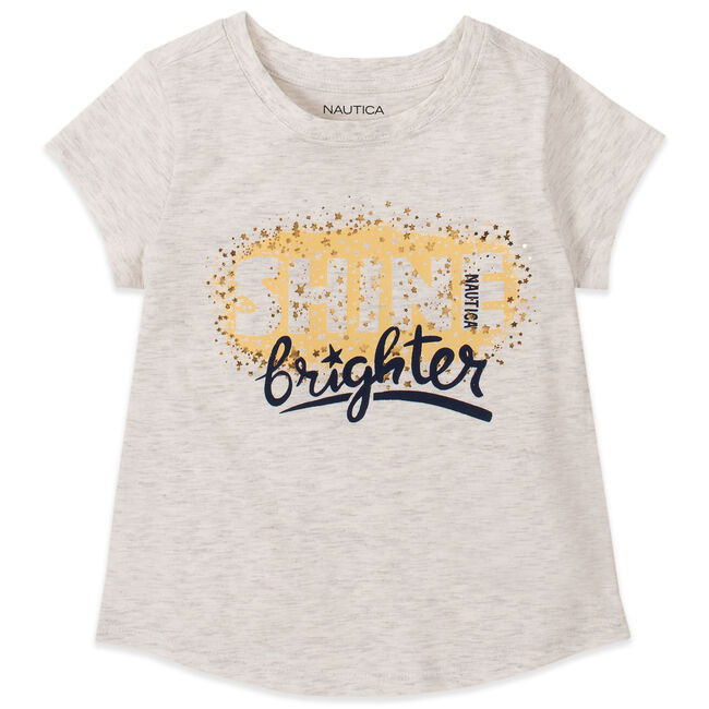 GIRLS' GOLD FOIL SHINE BRIGHTER GRAPHIC T-SHIRT (8-20),Cream Heather,large