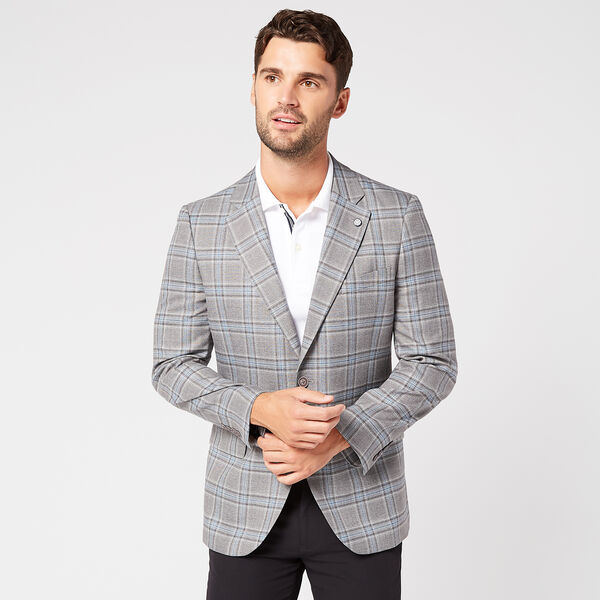 BRANFORD PLAID BLAZER IN LIGHT GREY - Rust