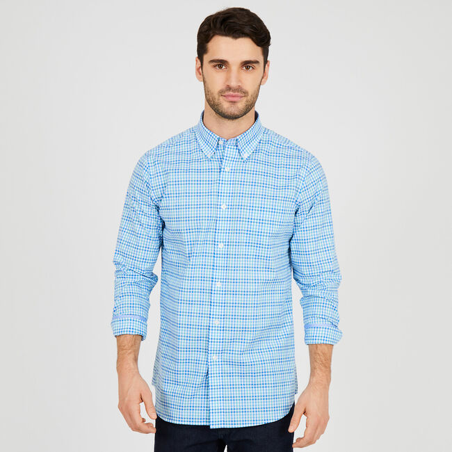 Long Sleeve Iron-Free Gingham Classic Fit Shirt,Flipper Jade,large