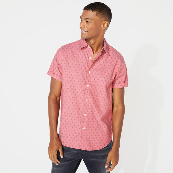 CLASSIC FIT GEOMETRIC PRINT OXFORD SHIRT - Coral Cape