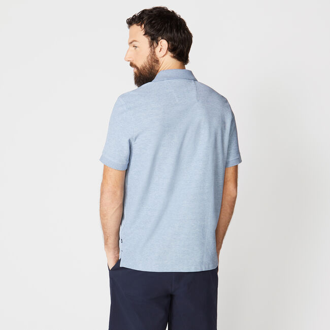 CLASSIC FIT PERFORMANCE DECK POLO,Anchor Blue Heather,large