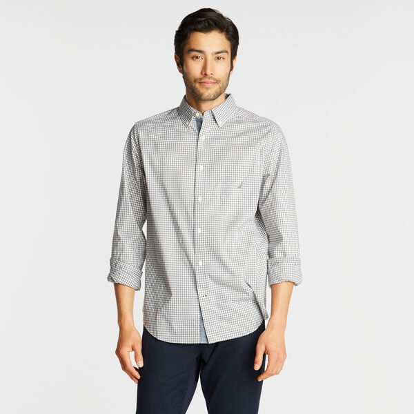 CLASSIC FIT POPLIN SHIRT IN GINGHAM - Platinum Grey