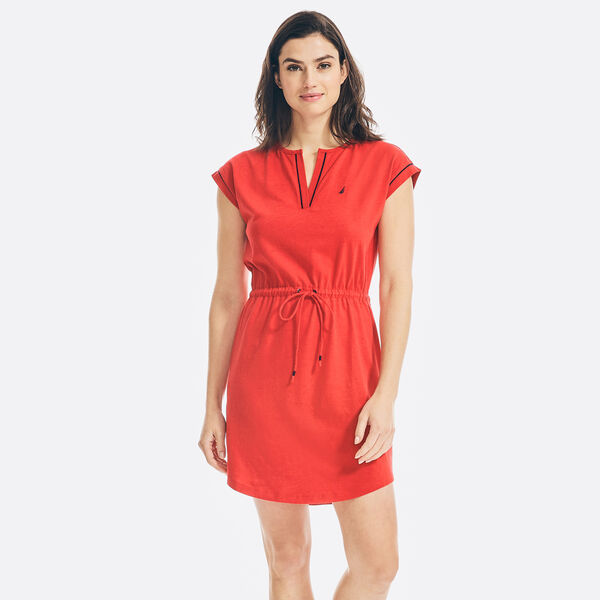 SUSTAINABLY CRAFTED SPLIT-NECK DRESS - Tomales Red