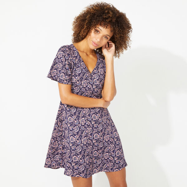 NAUTICA JEANS CO. SURFLINE PAISLEY FIT AND FLARE DRESS - Pink Shrimp