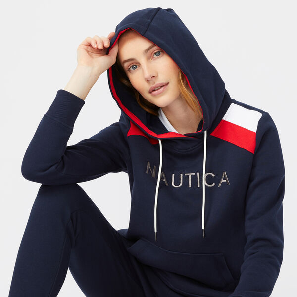 STRIPE SHOULDER LOGO PULLOVER HOODIE - Stellar Blue Heather