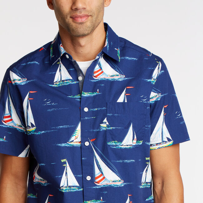 Short Sleeve Classic Fit Shirt in Sail Print,Blue Depths,large