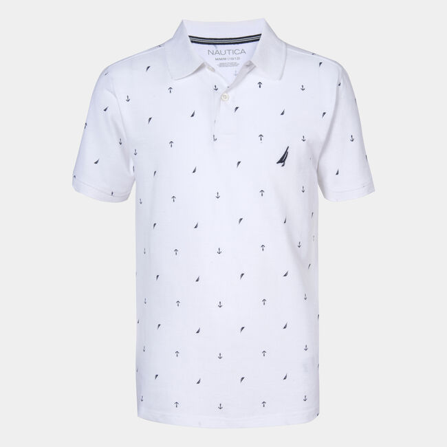BOYS' BISCAYNE PRINTED POLO (8-20),Antique White Wash,large