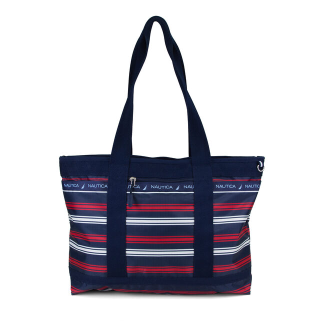 Captain's Quarters Tote - Stripe,Nautica Red,large